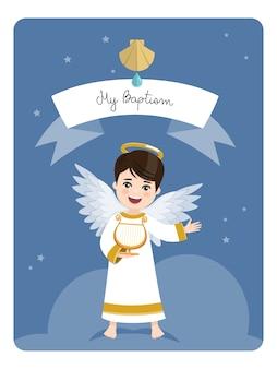 Anjo tocando harpa. lembrete de batismo em fundo de céu azul e estrelas. plano