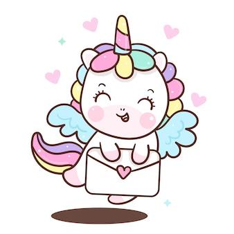 Anjo unicornio bonito segurando a carta de amor