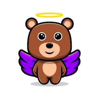 Anjo urso fofo com personagem de desenho animado de asa roxa