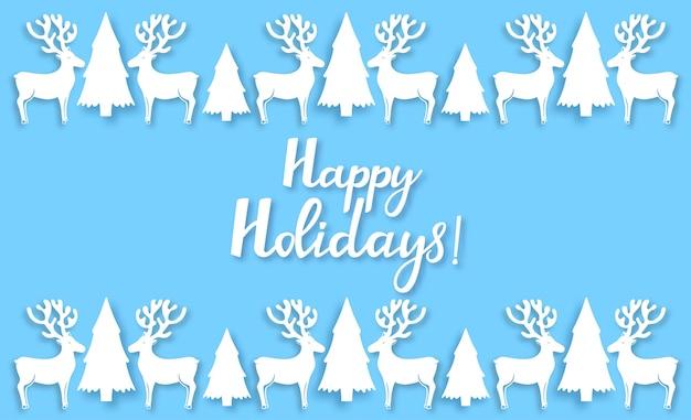 Anjo, veado, abeto. decorações de ano novo no estilo recortado em papel. letras de mão desenhada de feliz natal. cartaz horizontal de felicitações. cartão de felicitações