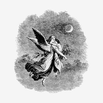 Anjo vintage com uma ilustração infantil