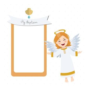 Anjo voador. convite de batismo com mensagem e fundo branco. ilustração plana
