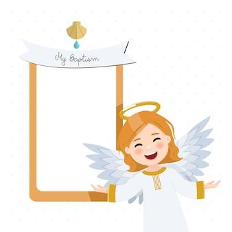 Anjo voador em primeiro plano. convite de batismo com mensagem. ilustração plana isolada