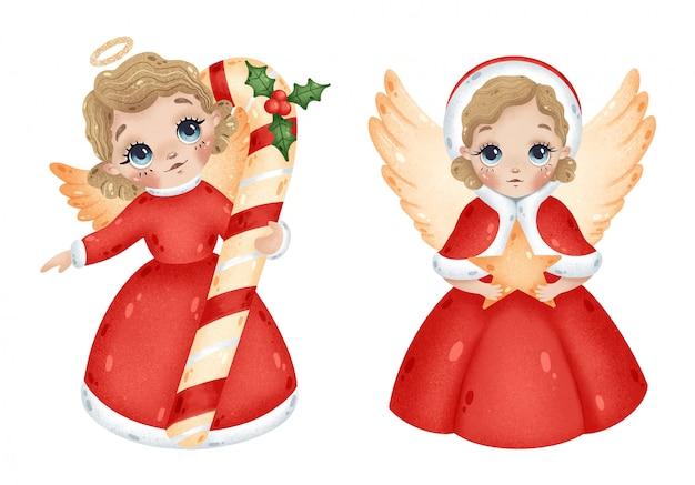 Anjos de meninas de natal bonito dos desenhos animados com estrela e conjunto de cana de doces de natal