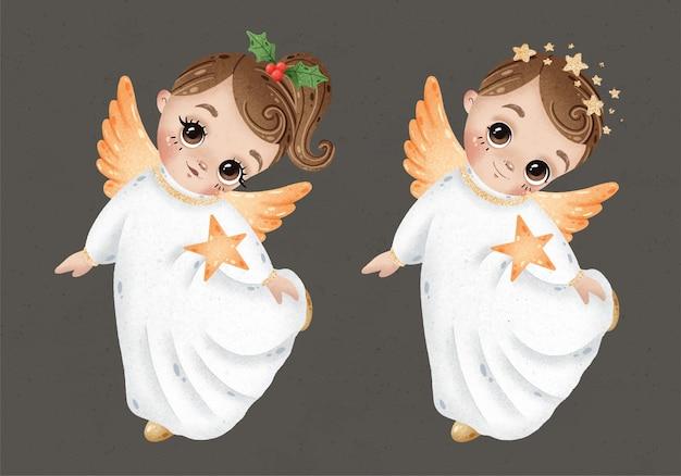 Anjos de natal bonito dos desenhos animados menino e menina com conjunto de estrelas