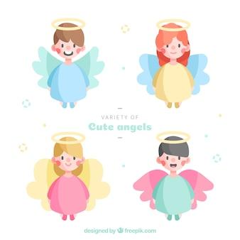 Anjos de natal em vestes coloridas