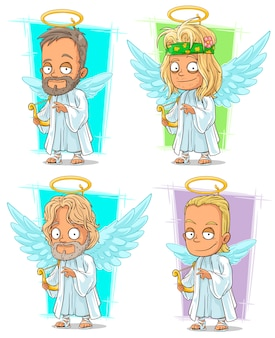 Anjos dos desenhos animados com conjunto de caracteres nimbus e harpa
