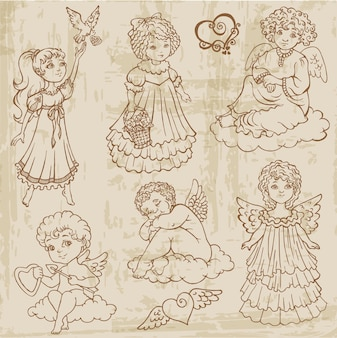 Anjos vintage, bonecos, bebês