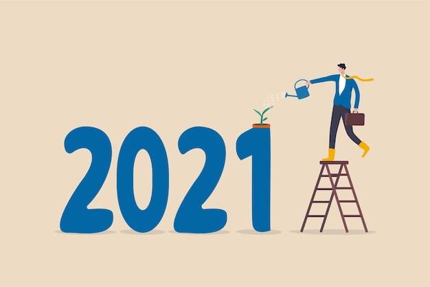 Ano 2021 econômico recuperado da ilustração de surto de coronavirus covid-19