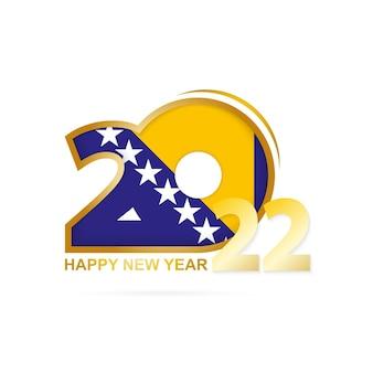Ano 2022 com padrão de bandeira da bósnia e herzegovina design de feliz ano novo