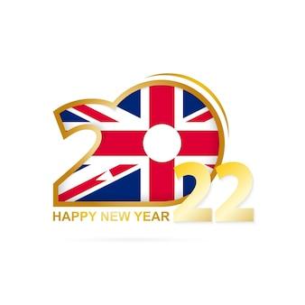 Ano 2022 com padrão de bandeira do reino unido design de feliz ano novo