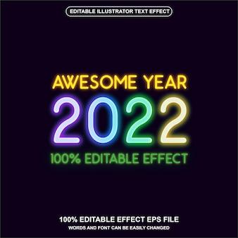 Ano brilhante de 2022 com vetor de efeito de texto em néon