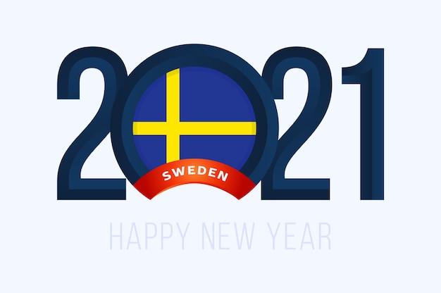 Ano com a bandeira da suécia isolada no branco
