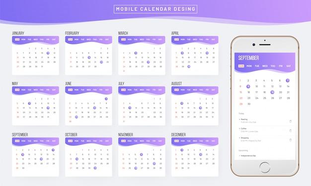 Ano de 2019, calendar design.
