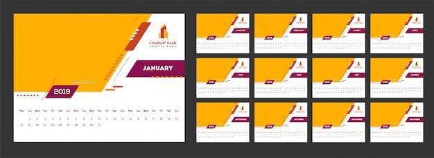 Ano de 2019, calendário design com elementos abstratos.