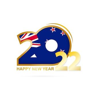Ano de 2022 com o padrão de bandeira da nova zelândia. feliz ano novo design.