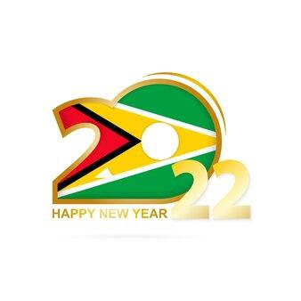Ano de 2022 com padrão de bandeira da guiana. feliz ano novo design.