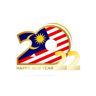 Ano de 2022 com padrão de bandeira da malásia. feliz ano novo design.