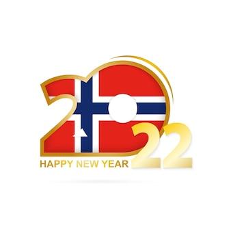 Ano de 2022 com padrão de bandeira da noruega design de feliz ano novo