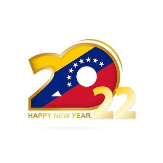 Ano de 2022 com padrão de bandeira da venezuela. feliz ano novo design.