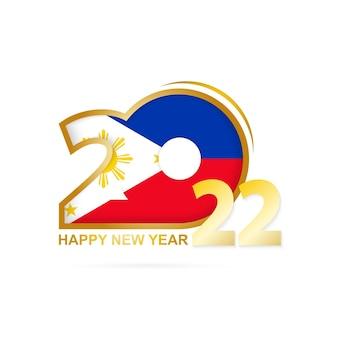 Ano de 2022 com padrão de bandeira das filipinas. feliz ano novo design.