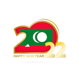 Ano de 2022 com padrão de bandeira das maldivas. feliz ano novo design.