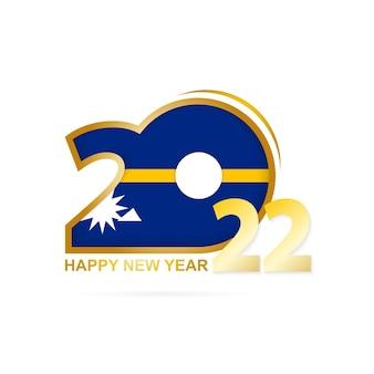 Ano de 2022 com padrão de bandeira de nauru. feliz ano novo design.