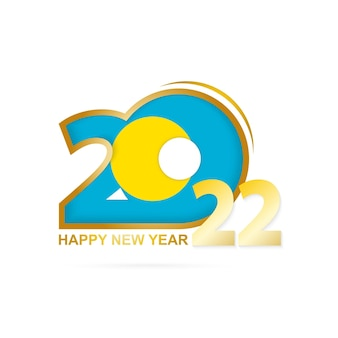 Ano de 2022 com padrão de bandeira de palau. feliz ano novo design.