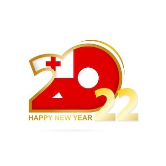 Ano de 2022 com padrão de bandeira de tonga. feliz ano novo design.