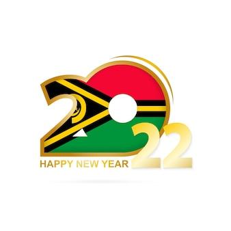 Ano de 2022 com padrão de bandeira de vanuatu. feliz ano novo design.