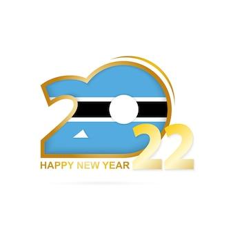 Ano de 2022 com padrão de bandeira do botswana. feliz ano novo design.