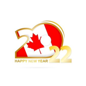 Ano de 2022 com padrão de bandeira do canadá. feliz ano novo design.
