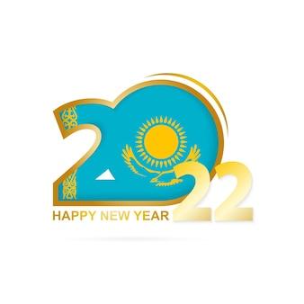Ano de 2022 com padrão de bandeira do cazaquistão. feliz ano novo design.