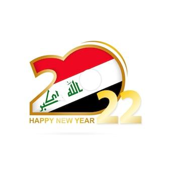 Ano de 2022 com padrão de bandeira do iraque. feliz ano novo design.