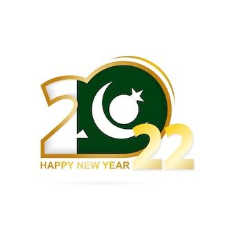 Ano de 2022 com padrão de bandeira do paquistão. feliz ano novo design.