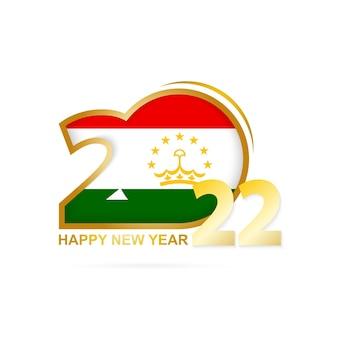 Ano de 2022 com padrão de bandeira do tajiquistão. feliz ano novo design.