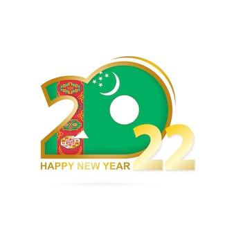 Ano de 2022 com padrão de bandeira do turcomenistão. feliz ano novo design.