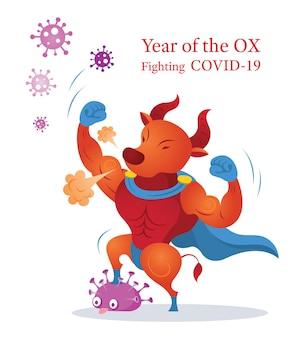Ano do boi, lutando contra o personagem covid-19