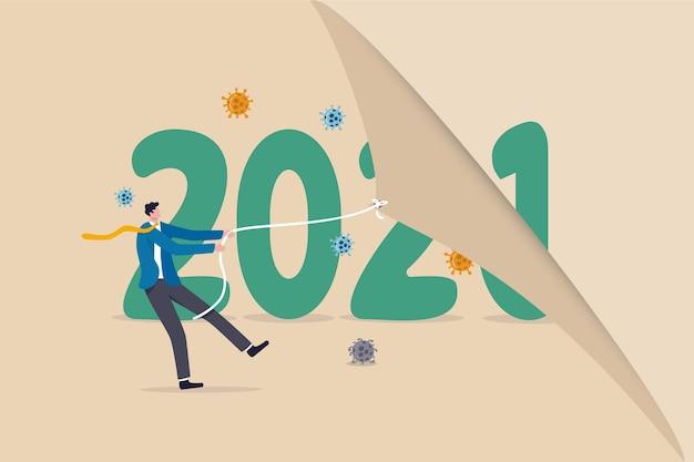 Ano mudando para 2021 a partir de 2020, surto de coronavirus covid-19.