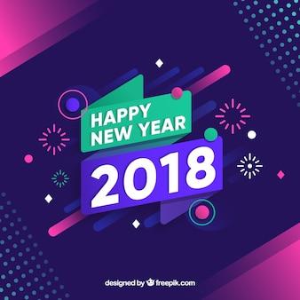 Ano novo 2018 com fogos de artifício