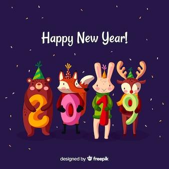 Ano novo 2019 animais fundo