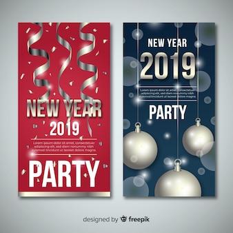 Ano novo 2019 banner com elementos prateados