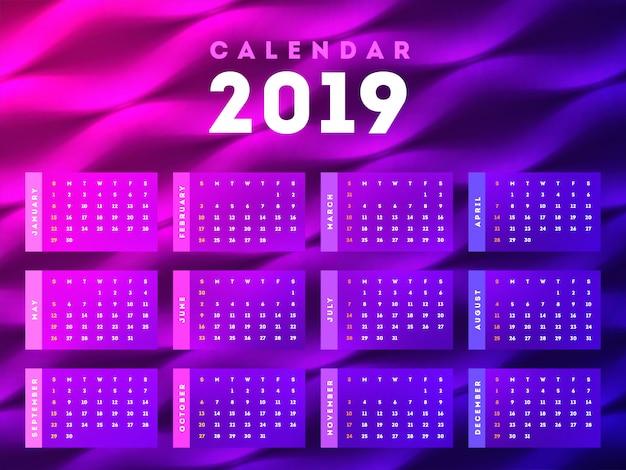 Ano novo 2019, calendário.