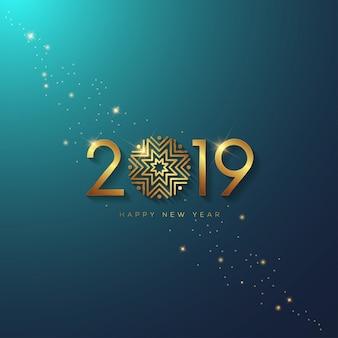 Ano novo, 2019, com, estrelas, ligado, gradiente, fundo