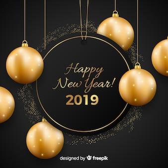 Ano novo 2019 com fundo de bolas de ouro
