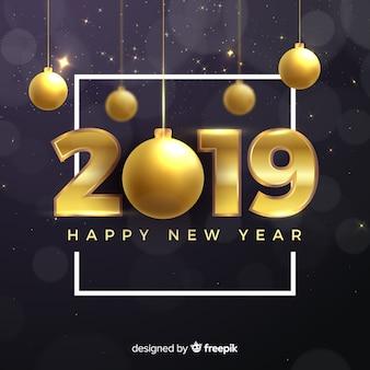 Ano novo, 2019, composição, com, dourado, estilo