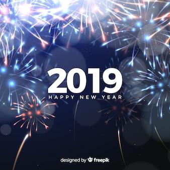Ano novo, 2019, composição, com, fogos artifício