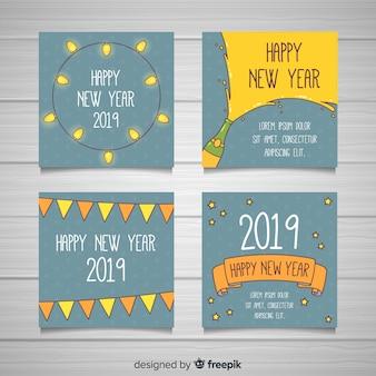 Ano novo 2019 conjunto de cartões