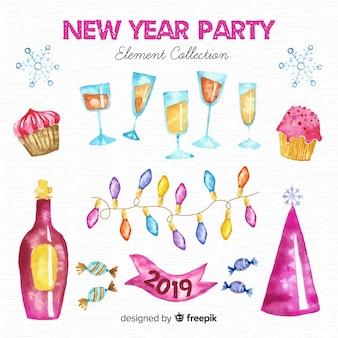 Ano novo 2019 conjunto de decoração