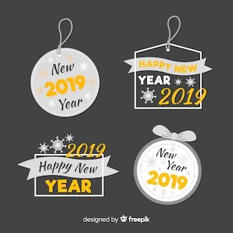 Ano novo 2019 etiquetas e emblemas coleção